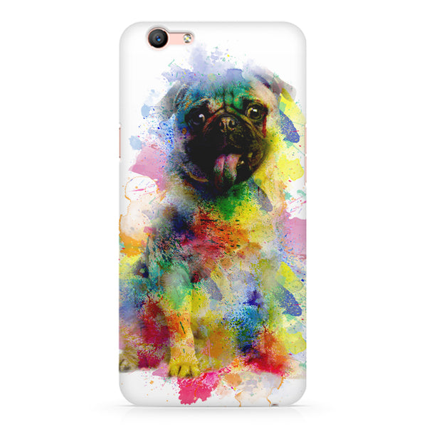 Colours splashed pug Oppo A1 all side printed hard back cover by Motivate box Oppo A1 hard plastic printed back cover.