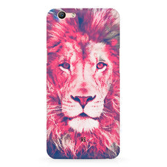 Zoomed pixel look of Lion design Oppo F3 hard plastic printed back cover