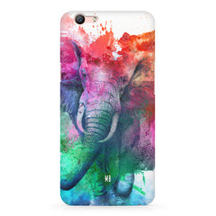 colourful portrait of Elephant Oppo F3 hard plastic printed back cover