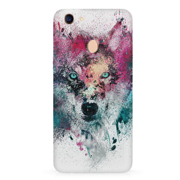 Splashed colours Wolf Design Oppo F7 hard plastic all side printed back cover