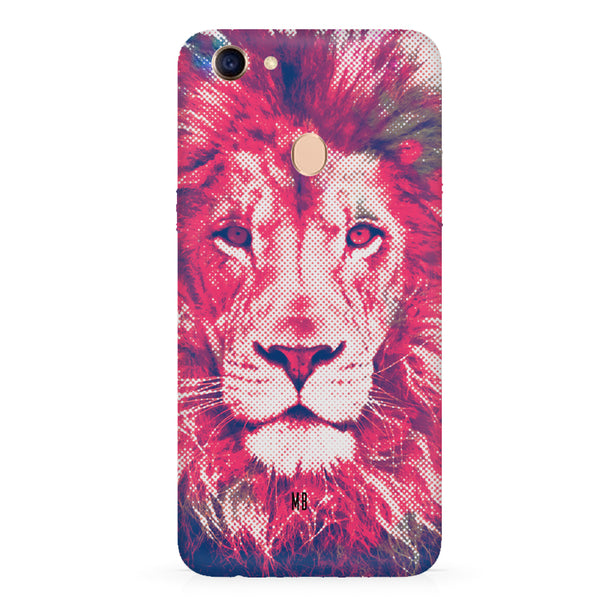 Zoomed pixel look of Lion design Oppo F7 hard plastic all side printed back cover