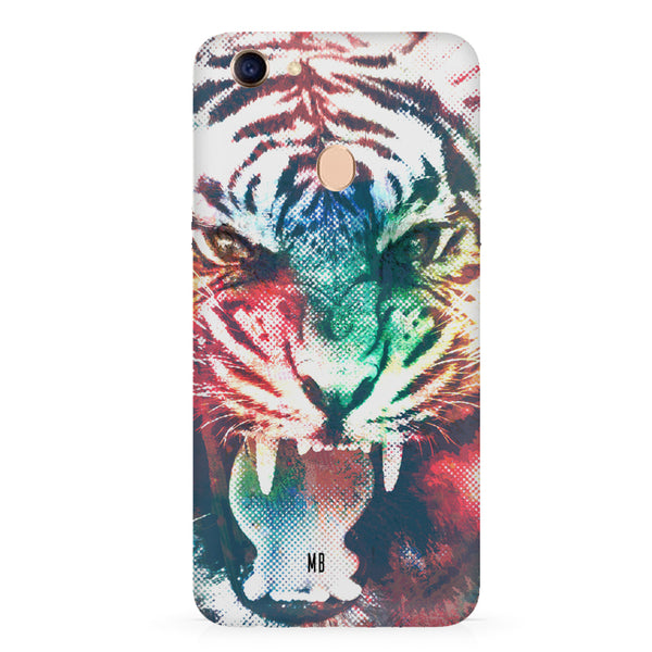 Tiger with a ferocious look Oppo F7 hard plastic all side printed back cover