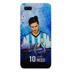 No.10 Lionel Messi Argentina with a football in hand design Oppo F9 hard plastic printed back cover