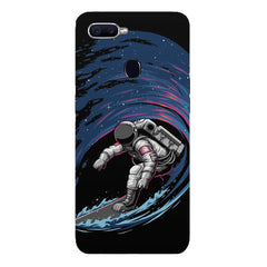 Astronaut space surfing design Oppo F9 hard plastic printed back cover