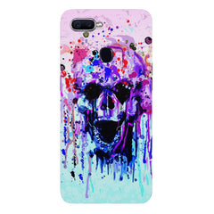 Skull with colour dripping design Oppo F9 hard plastic printed back cover