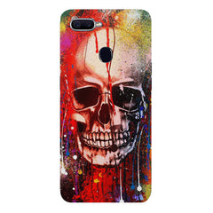 Skull design  with Holi colours drippingOppo F9 hard plastic printed back cover