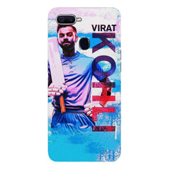 Virat Kohli with a bat portrait design  Oppo F9 hard plastic printed back cover