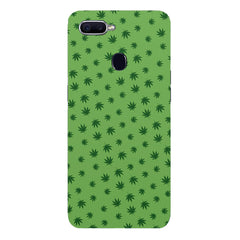 Tiny green leaves spread all over the cover design Oppo F9 hard plastic printed back cover