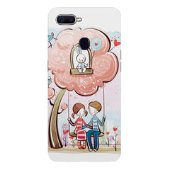 Couple on a swing Romantic design Oppo F9 hard plastic printed back cover