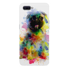 Colours splashed pugOppo F9 hard plastic printed back cover