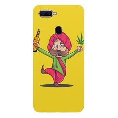 Sardar dancing with Beer and Marijuana Oppo F9 hard plastic printed back cover