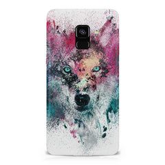 Splashed colours Wolf Design Samsung A6 plus hard plastic printed back cover.