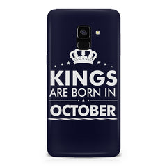 Kings are born in October design    Samsung A8 plus 2018 hard plastic printed back cover