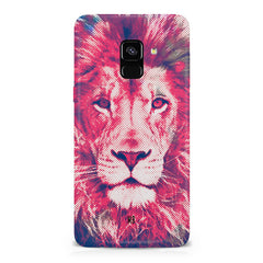 Zoomed pixel look of Lion design Samsung A6 plus hard plastic printed back cover.