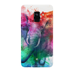 colourful portrait of Elephant Samsung J6 Plus hard plastic all side printed back cover.