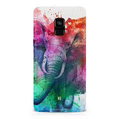 colourful portrait of Elephant Samsung A6 plus hard plastic printed back cover.