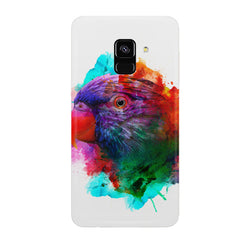 Colourful parrot design Samsung J6 Plus hard plastic all side printed back cover.