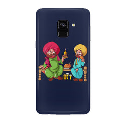 Punjabi sardars with chicken and beer avatar Samsung J6 Plus hard plastic all side printed back cover.
