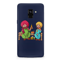 Punjabi sardars with chicken and beer avatar Samsung A6 plus hard plastic printed back cover.