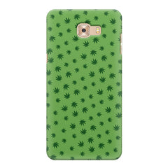 Tiny green leaves spread all over the cover design Samsung C9 Pro hard plastic printed back cover.