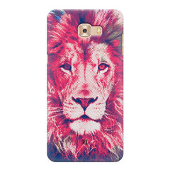 Zoomed pixel look of Lion design Samsung C9 Pro hard plastic printed back cover.