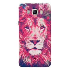 Zoomed pixel look of Lion design Samsung Galaxy On8 hard plastic printed back cover.