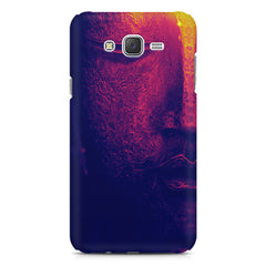 Half red face sculpture  Samsung J7 2016 version  printed back cover