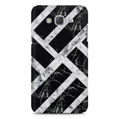 Black & white rectangular bars  Samsung Galaxy J1 Ace  printed back cover