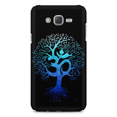 A beautiful blue tree with Om inscribed Galaxy A8 hard plastic printed back cover