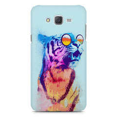 A funny, colourful yet cool portrait of a tiger wearing reflectors. Galaxy A8 hard plastic printed back cover