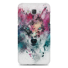 Splashed colours Wolf Design Samsung Galaxy J2 2016 hard plastic printed back cover