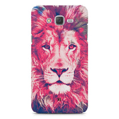 Zoomed pixel look of Lion design Samsung Galaxy J2 2016 hard plastic printed back cover