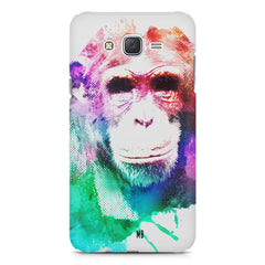 Colourful Monkey portrait Samsung Galaxy J2 2016 hard plastic printed back cover