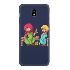 Punjabi sardars with chicken and beer avatar Samsung J7 Pro hard plastic printed back cover