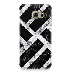 Black & white rectangular bars  Samsung S6  printed back cover