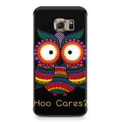 Owl funny illustration Hoo Cares Samsung S6  printed back cover