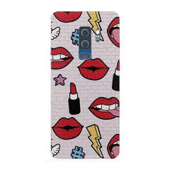 Sexy Red Lips Design Samsung S9 Plus hard plastic printed back cover.