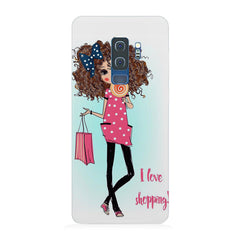 I love Shopping Girly design Samsung S9 Plus hard plastic printed back cover.