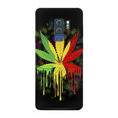 Marijuana colour dripping design Samsung S9 Plus all side printed hard back cover by Motivate box Samsung S9 Plus hard plastic printed back cover.