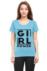 Girl power design  woman round neck tshirts