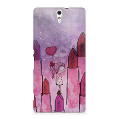 Girl with lipsticks sketch design Sony Xperia C5 printed back cover