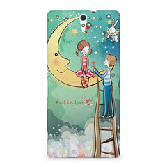 Couple on moon sketch design Sony Xperia C5 printed back cover