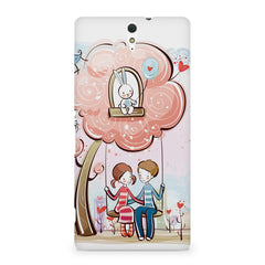 Couple swinging together sketch design Sony Xperia C5 printed back cover