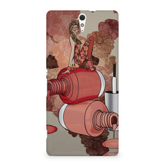 Girl on nail paints sketch design Sony Xperia C5 printed back cover
