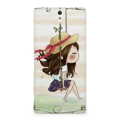 Girl swinging sketch design Sony Xperia C5 printed back cover