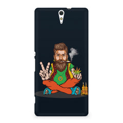 Beard guy smoking sitting design Sony Xperia C5 printed back cover