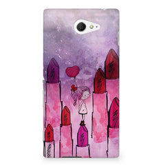 Girl with lipsticks sketch design Sony Experia M2 S50H printed back cover