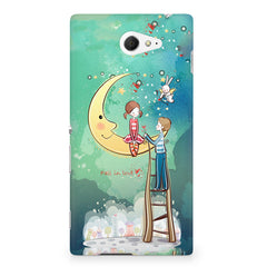 Couple on moon sketch design Sony Experia M2 S50H printed back cover