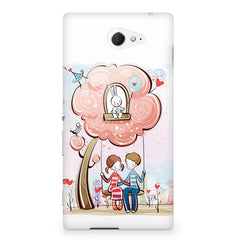 Couple swinging together sketch design Sony Experia M2 S50H printed back cover