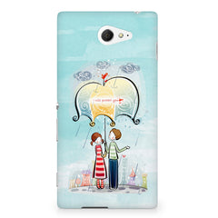 Couple under umbrella sketch design Sony Experia M2 S50H printed back cover